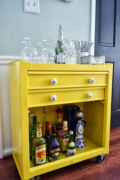 Metal Tool Cart turned Beverage Cart. Such a cute idea!