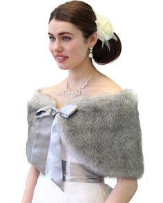 Chinchilla Grey Faux Fur Shawl is perfect for cold winter weddings, bridal events, and formals.  Bridal Stole Shawl Wrap is lined with satin and comes in many other colors. Price:$39.99 on http://www.tionbridal.com/faux-fur-shawl/