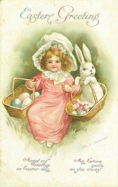 girl with bunnie and basket.