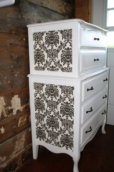 French provincial tall-boy dresser with damask side detail