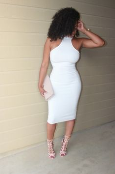 All White AffairDress: Mock Neck Midi from Jluxlabel Shoes: LolaShoetique Clutch: Aldo Jewelry: Zara Fashion By Teki Reshell
