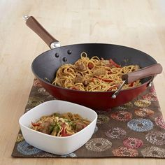 Global Kitchen 14 in. Light Cast Iron Wok in Red