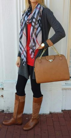 Gray cardigan + red tunic + plaid scarf + black leggings + brown boots.  Get the look with your own pair of black leggings.