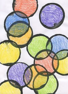 Art Projects for Kids: Kinder Art: Overlapping Circles-Week 1: Stamping using a plastic cup & watered-down tempera paint. Encourage overlapping. When finished, go to clean table (stations) and trace circle templates then make circles into something- wheels, faces, etc.. Week 2: Color in circles, encourage color mixing... Or just coloring inside the lines.
