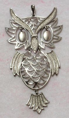 Vintage Large Owl Pendant Articulated Groovy by TUTreasures, $15.50