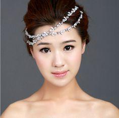 50% discount rhinestone hair forehead semi-precious stones inlaid tiara bridal wedding $12.40