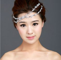 50% discount rhinestone hair forehead semi-precious stones inlaid tiara bridal wedding $12.40