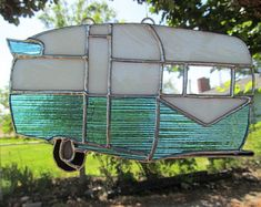 Vintage Trailer, Turquoise Stained Glass Suncatcher, Camper decor, RV accessorie… – Famous Last Words Stained Glass Ornaments, Stained Glass Suncatchers, Stained Glass Designs, Stained Glass Projects, Stained Glass Patterns, Stained Glass Art, Stained Glass Windows, Mosaic Glass, Fused Glass