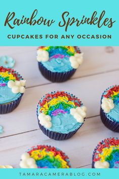 These rainbow sprinkles cupcakes are the most cheerful, delightful, and delicious cupcakes you'll make! Try them for every festive occasion, or just because Party Recipes, Healthy Dessert Recipes, Sweet Desserts, Cupcake Recipes, Sweet Recipes, Rainbow Sweets, Rainbow Sprinkles, Sprinkle Cupcakes, Love Cupcakes