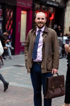 Tom was spotted wearing his classic Barbour Wax Jacket – the perfect look for a cool September day.