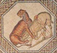 Roman Mosaic. Female Tiger and Wild Ass. Nennig Villa. Perl-Nennig, Germany