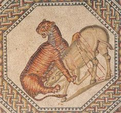Roman Mosaic. Female Tiger and Wild Ass. Nennig Villa. Perl-Nennig, Germany
