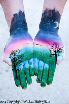 Hand Painting Landscape Rainbow Self Love Universal Photography Print Earth Heavens Celestial Abstract Illusion Psychedelic