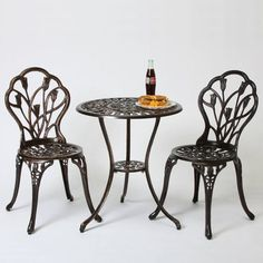 Nassau 3pc Cast Aluminum Patio Bistro Set - Christopher Knight Home : Target Decor, Furniture, Bistro Table, Patio Furniture, Fire Pit Furniture, Bistro Set, Outdoor Vintage Style, Outdoor Patio Decor, Patio Dining Set