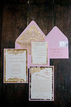 Formal, gold and pink wedding invitations | Brides.com