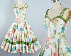 Vintage 50s Dress / 1950s Red Green Cotton Sundress PLAID
