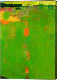 Green Field Abstract Canvas Wall Art Print by Paul Bailey