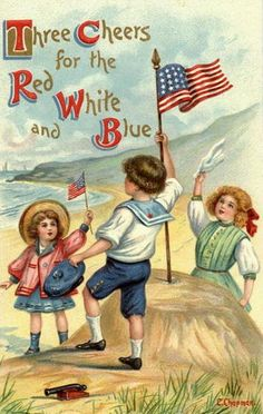 Patriotic illustration, by Cyrus Durand Chapman – American) I Love America, God Bless America, America America, Happy 4 Of July, Fourth Of July, Vintage Cards, Vintage Postcards, Vintage Images, Holiday Postcards