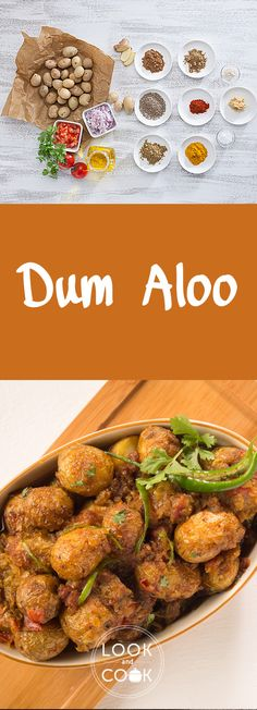 Dum Aloo( Aloo recipe is a Kashmiri- style dish where potatoes are deep fried, then cooked slowly at a low flame in a succulent creamy gravy Aloo Recipes, Veg Recipes, Delicious Vegan Recipes, Curry Recipes, Indian Food Recipes, Asian Recipes, Vegetarian Recipes, Cooking Recipes, Recipies