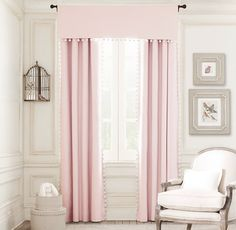 RH Baby & Child's Pom-Pom Linen-Cotton Drapery Panel:Once a sewing basket staple, sweet pom-pom trim puts a playful spin on our polished yet casual linen drapery. Pom Pom Curtains, Curtains With Blinds, Pom Poms, Fringe Curtains, Bed Drapes, Pink Curtains, Cotton Curtains, Bedroom Curtains, Valances