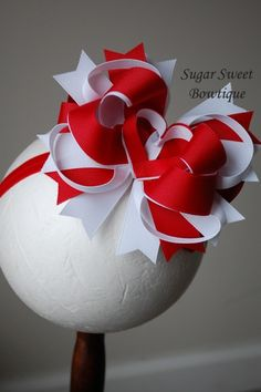 Red and White Heart Layered Boutique Hair Bow
