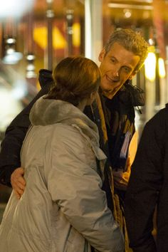 """Twelve + Clara Oswald   Peter Capaldi + Jenna Coleman   Doctor Who   behind the scenes of """"Listen"""" in Cardiff Bay, February 2014"""