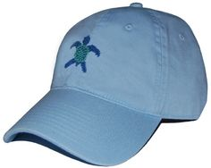 Sea Turtle Needlepoint Hat in Sky Blue by Smathers & Branson