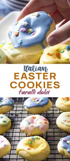 This Holiday Make Italian Easter Cookies Taralli Dolci These Are A Traditional Cookie Often Flavored With Citrus, Anise, Almond, Or Vanilla And Are Made From A Simple, Soft Dough Then Glazed And Topped With Sprinkles. Italian Easter Cookies, Italian Cookie Recipes, Italian Desserts, Baking Recipes, Desserts Ostern, Köstliche Desserts, Delicious Desserts, Dessert Recipes, Yummy Food