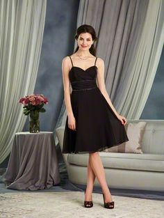 Alfred Angelo Style 7382S: short cocktail length bridesmaid dress with a draped sweetheart neckline and spaghetti straps. The shirred waistline is accented with a beaded trim.