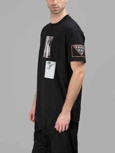 GIVENCHY Givenchy Men'S Black T-Shirt With Patches. #givenchy #cloth #t-shirts