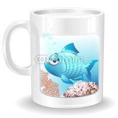 Mug of Milk with funny Fish-Vector © bluedarkat