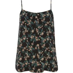 Dorothy Perkins Black Ditsy Oriental Cami Top ($12) ❤ liked on Polyvore featuring tops, black, camisole tops, cami tank, black floral tank top, black cami top and black cami