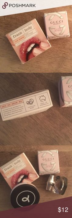 Lip scrub & perfume Frank Body lip scrub Has ground coffee in it! Regular $12.95 Gucci Bamboo perfume  Trial size 0.16 fl oz Both purchased from Ulta  Never been used Gucci Makeup