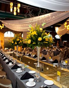 Yellow and Gray Reception Decor - The Knot