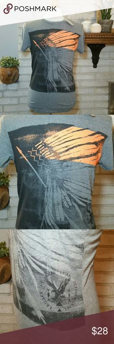 NEW Men's American Eagle Graphic Tee T Shirt Grey This is for a Brand new, with tags, 100% authentic men's American Eagle graphic T shirt. It is short sleeve, 50% cotton, 50% polyester. It is size small, grey and orange, and brand new. It has a decal Indian chief logo. Athletic fit (slim), tagless shirt. Smoke free home! Mix and match with newly listed NEW American Eagle, NEW Hollister, and NEW Abercrombie & Fitch to get a bundle discount! See size chart pic listed. American Eagle Outfitters…