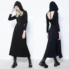 Sexy Black Maxi Long Sleeve Hooded Gothic Vampire Fashion Dress SKU-11402386