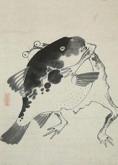 伊藤若冲「河豚と蛙の相撲図」 毒のあるもの同士、がポイントなんだとか。 単純にユーモラスでかわいい。