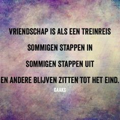 Vriendschap / friendship is like a  train journey , some people step in, some step out and others stay til the end.