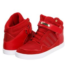 Red adidas high tops