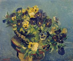 Tambourine with Pansies - Vincent van Gogh . Created in Paris in Spring, Located at Van Gogh Museum. Find a print of this Oil on Canvas Painting Artist Van Gogh, Van Gogh Art, Art Van, Vincent Van Gogh, Most Popular Artists, Van Gogh Museum, Van Gogh Paintings, Dutch Painters, Post Impressionism