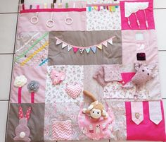 Awakening + mat + for + babies. + I + used + cotton + squares Baby Sewing Projects, Sewing For Kids, Sewing Art, Sewing Crafts, Do It Yourself Mode, Tag Blankets For Babies, Sewing Baby Clothes, Fidget Quilt, Baby Girl Quilts