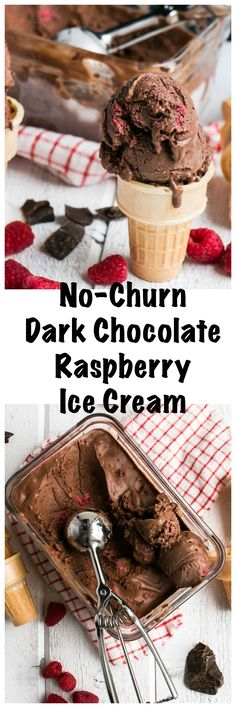 No-Churn Dark Chocolate Raspberry Ice Cream | My Kitchen Love. Easy to whip up this flavourful dark chocolate raspberry ice cream (no machine required!)