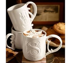 Alphabet Mugs #potterybarn...too cute, but would be great for a family set as well.