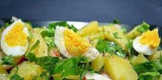 Salata de cartofi cu leurda si ridichi Potato Recipes, Potato Salad, Deserts, Food And Drink, Potatoes, Vegetarian, Yummy Food, Meat, Chicken
