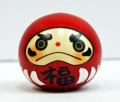 Usaburo Kokeshi Japanese Wooden Doll 9-113-2 Happy Daruma (Dharma Doll) Red