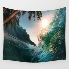 Photography+-+Beach+-+Waves+-+Palm+Trees+-+Ocean++Wall+Tapestry+by+Rosemary+A.++-+$39.00