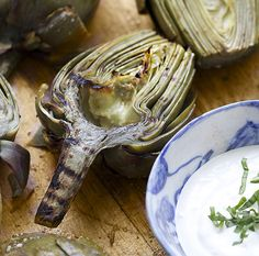 Phase 3: Beautiful artichokes at the market right now -- great for these Grilled Artichokes with Lemon Aioli (use all safflower mayo instead of yogurt in the aioli)