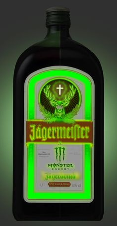 Packaging of Jägermeister x Monster Energy 'Jaggerbomb', with green fluorescent ink. Fantasy design by Pablo Huertas