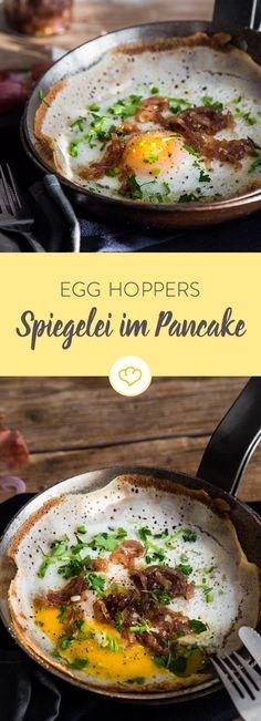 Ein Spiegelei ist gut. Ein Spiegelei im fluffigen Pfannkuchen ist besser. Egg Hoppers sind das ultimative 2-in-1-Frühstück für alle, die es herzhaft mögen.