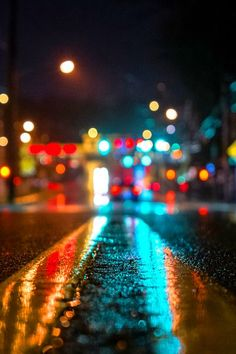 "This is an image of a street at night, using a close-up bokeh effect. Bokeh is an effect in photography; it is ""the visual quality of the out-of-focus areas of a photographic image, especially as rendered by a particular lens. Bokeh Photography, Urban Photography, Abstract Photography, Night Photography, Creative Photography, Amazing Photography, Photography Backdrops, City Lights Photography, Portrait Photography"